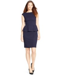 American Living Cap Sleeve Peplum Dress Capri Navy
