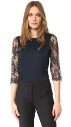 Leur Logette Lace Sleeve Top Navy