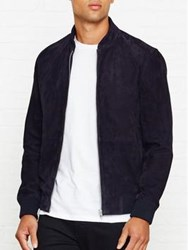 Reiss Sussex Zip Suede Jacket Navy