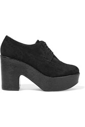 Robert Clergerie Voel Lizard Effect Leather And Suede Platform Brogues Black