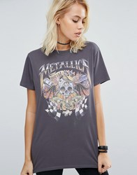 Asos T Shirt With Metallica Print In Washed Oversized Fit Charcoal Grey