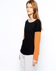 See By Chloe Color Block Long Sleeve T Shirt Blackorangecream