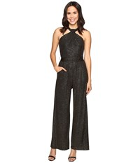 Tahari By Arthur S. Levine Sparkle Halterneck Jumpsuit With Stretch Black Gold Women's Jumpsuit And Rompers One Piece