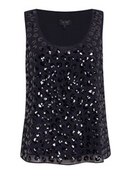 Armani Jeans Sleeveless Sequin Spot Top Navy