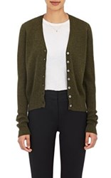 Barneys New York Women's V Neck Cardigan Dark Green