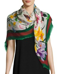 Gucci Flora Web Wool And Silk Shawl Ivory Green Ivory Green