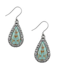 Lucky Brand Pave Peacock Semi Precious Reconstitution Calcite Studded Teardrop Earrings Turquoise