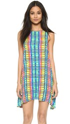 Mara Hoffman Flight Rainbow Crinkle Swing Dress Blue Multi
