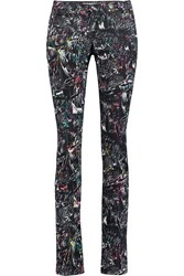 Mcq By Alexander Mcqueen Printed Mid Rise Slim Leg Jeans Gray
