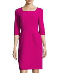 Tahari By Arthur S. Levine Square Neck Faux Wrap Skirt Dress Magenta