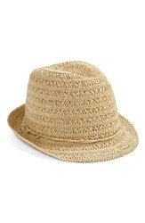 Women's Caslon Open Weave Straw Fedora Brown Tan Light Combo