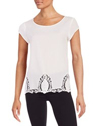 Ivanka Trump Lace Accented Crepe Blouse Natural