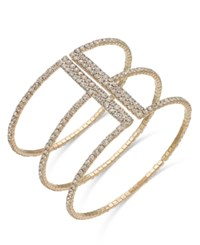 Inc International Concepts Gold Tone Crystal Triple Row Flex Bracelet Only At Macy's