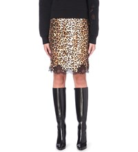 Givenchy Leopard Print Silk Pencil Skirt