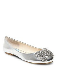 Betsey Johnson Ever Metallic Bow Flats Silver