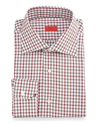 Isaia Check Woven Dress Shirt Red Olive Red Green