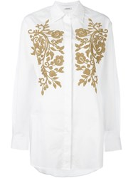 P.A.R.O.S.H. Gold Tone Embellished Shirt White