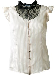 Guild Prime Contrast Ruffled Lace Panel Button Down Sleeveless Shirt White