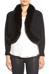 Sofia Cashmere Genuine Fox Fur Trim Crop Cashmere Cardigan Black