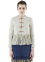 Voz Lineas Cropped Woven Fringed Jacket Brown