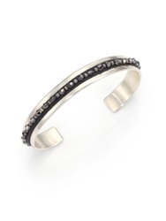 Chan Luu Crystal Leather And Sterling Silver Cuff Bracelet Silver Black