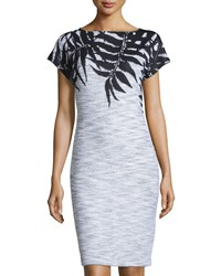 St. John Santana Leaf Print Cap Sleeve Dress Black Bright White