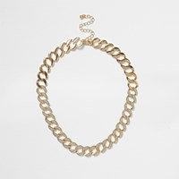 River Island Womens Gold Tone Glitter Chain Link Necklace