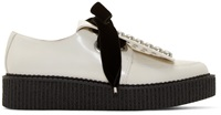 Marc By Marc Jacobs White Leather And Velvet Studded Berry Derbys