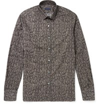 Lanvin Slim Fit Snake Print Cotton Poplin Shirt Black