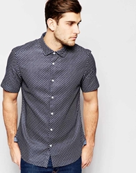 Esprit Short Sleeve Shirt With All Over Anchor Print Navy