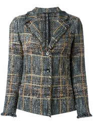 Etro Raw Edge Tweed Blazer Multicolour