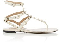 Valentino Women's Rockstud Flat Thong Sandals White