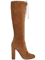 Etro 105Mm Lace Up Suede Boots Beige