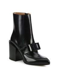 Marni Bow Leather Block Heel Ankle Boots Black