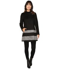 Lauren Ralph Lauren Buckle Front Stripe Black Double Face Grey Women's Coat