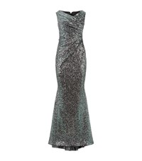 Talbot Runhof Ruched Sequin Gown Female Green