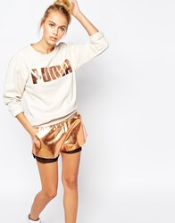 Puma Oversized Crew Neck Sweatshirt With Rose Gold Logo Beige