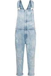 Current Elliott The Ranch Hand Distressed Stretch Denim Overalls Blue