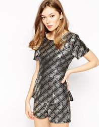 Rare Romper In Metallic Houndstooth Blackgold