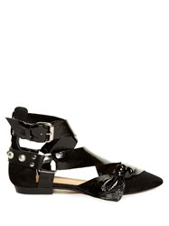 Isabel Marant Lindon Point Toe Leather And Suede Flats Black