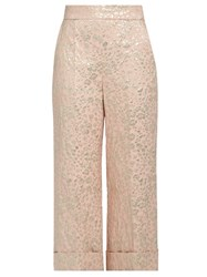 Delpozo Floral Jacquard Cropped Trousers Pink Multi