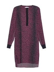 Vince Leopard Print Silk Crepe De Chine Dress