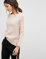 Baandsh Minus Knitted Jumper With Lace Up Detail Pink