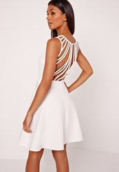 Missguided Multi Strap Back Skater Dress White Black