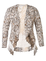 Chesca Scribble Print Shrug With Lace Trim Ivory