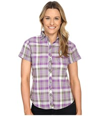 Woolrich Twin Lakes Shirt Grape Women's Short Sleeve Button Up Purple