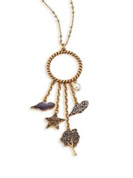 Marc Jacobs Tree Star Crystal Cluster Pendant Necklace Gold