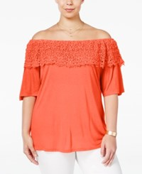 American Rag Trendy Plus Size Off The Shoulder Top Only At Macy's Living Coral
