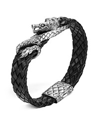 John Hardy Men's Naga Sterling Silver Dragon Woven Black Leather Bracelet Silver Black