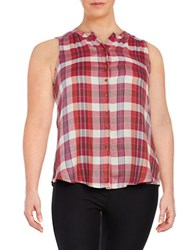 Lucky Brand Plus Sleeveless Plaid Blouse Red Multi